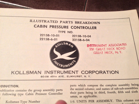 1950s Kollsman Cabin Pressure Controller 2215B Series Parts Manual.