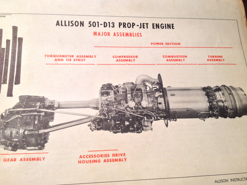 1960 Allison 501-D13 Prop-Jet Service Training School Manual.