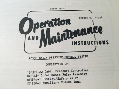 AiResearch Cabin Pressure Control System 140538 Service Manual.