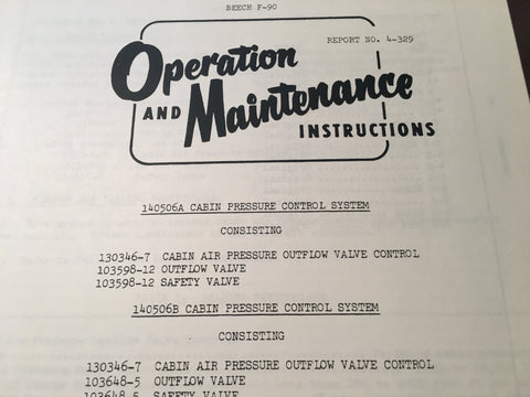 AiResearch Cabin Pressure Control 140506A & 140506B Service Manual.