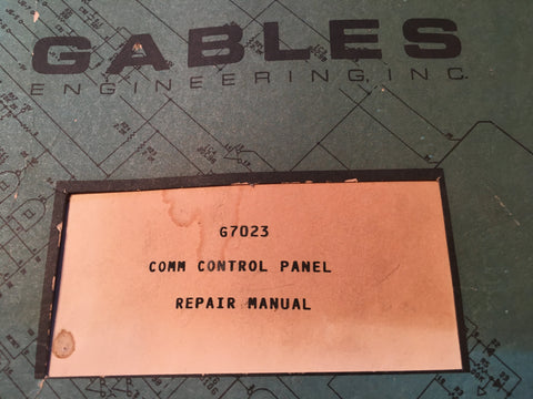 Gables G7023 Com Control Repair, Service & Parts Manual.