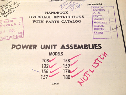 1945-1950 Lear Power Unit Assemblies 108 132 136 157 158 159 178 & 180 Overhaul Parts Manual.