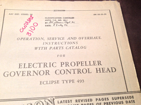1945 Eclipse 493 Electric Propeller Governor Control Head Service, Overhaul & Parts Manual.