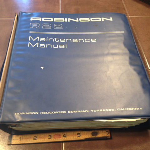 Robinson R22 Helicopter Maintenance Service Manual.