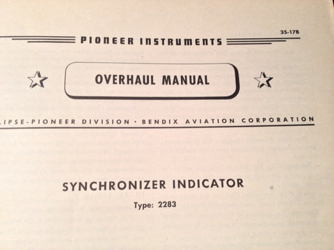 1943 Pioneer Synchronizer Indicator 2283 Overhaul Manual.