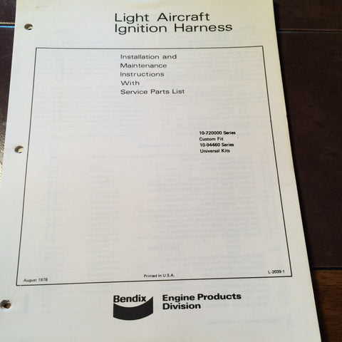 Bendix Light Aircraft Ignition Harness 10-720000 & 10-94460 Install Service Manual.  Circa 1978.