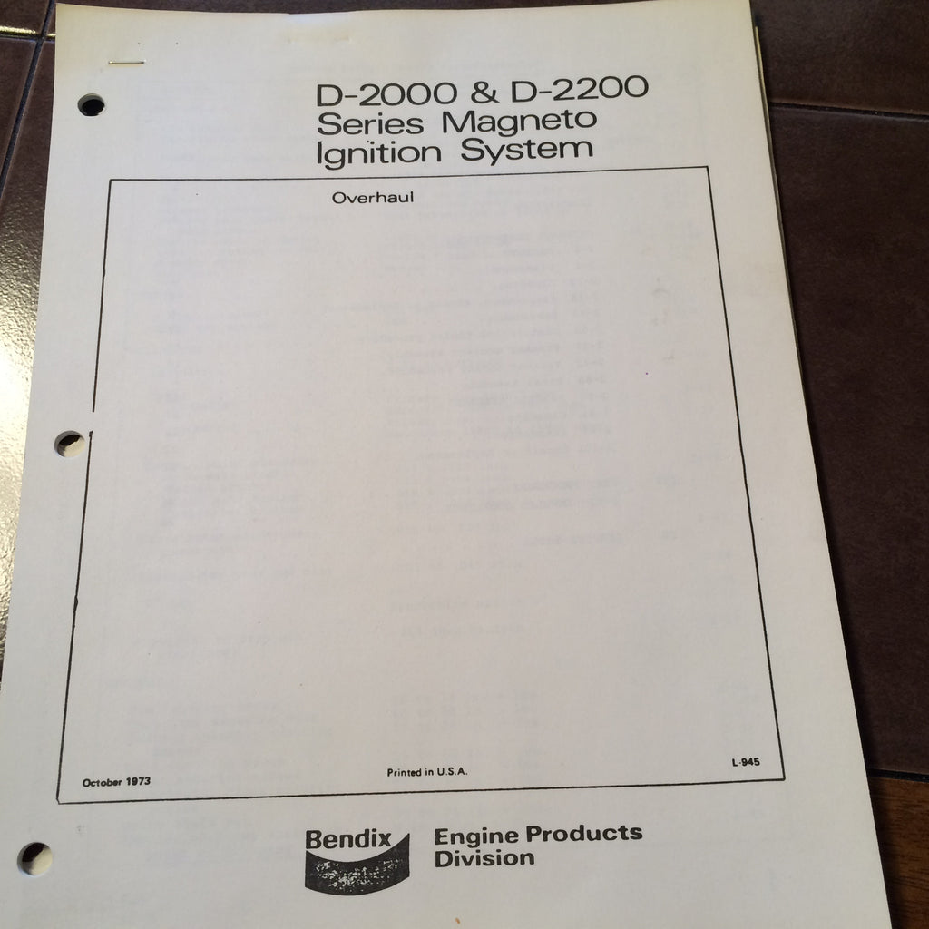 Bendix Magneto Overhaul Manual 1982 280zx Wiring Diagram Golf Cart 36 Volt Ezgo