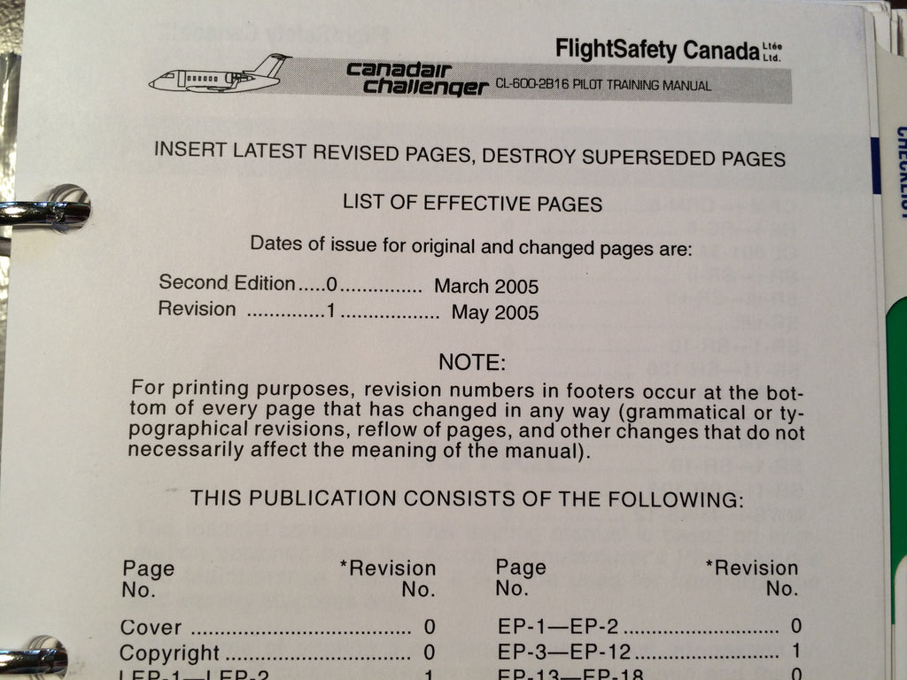 FlightSafety Canadair Challenger CL-600-2B16 Pilot Training Manual Vol. 1 Operational Information.  Circa 2005.