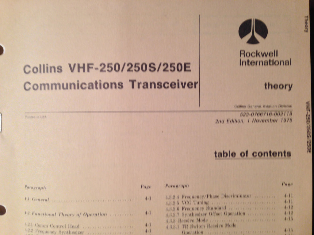 Collins VHF 250, 250S and 250E Service Manual.  Circa 1978.