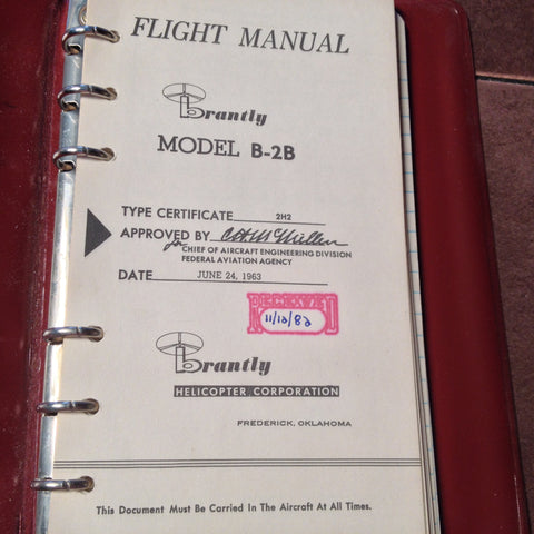 Brantly B-2B Helicopter Rotorcraft Flight Manual.  Circa 1963, 1982.