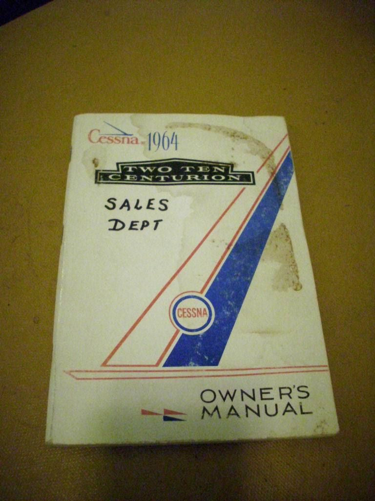 1964 Cessna 210 Two Ten Centurion Owner's Manual