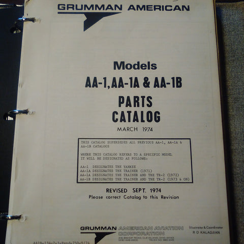 Grumman American AA-1, AA-1A & AA-1B Parts Manual.  Circa 1974