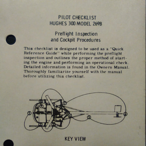 Hughes 300 Model 269B QRH Quick Reference Guide Pilot Checklist. Circa 1980s.