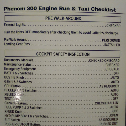 CAE Embraer Phenom 300 Engine Run & Taxi Laminated Checklist. Circa 2011.