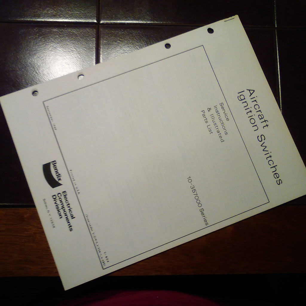 Bendix Aircraft Ignition Switches Service Parts Manual for 10-357000 Series.  Circa 1969.