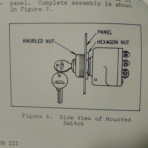 Bendix Aircraft Ignition Switches Service Parts Manual for 10-357000  Series  Circa 1969
