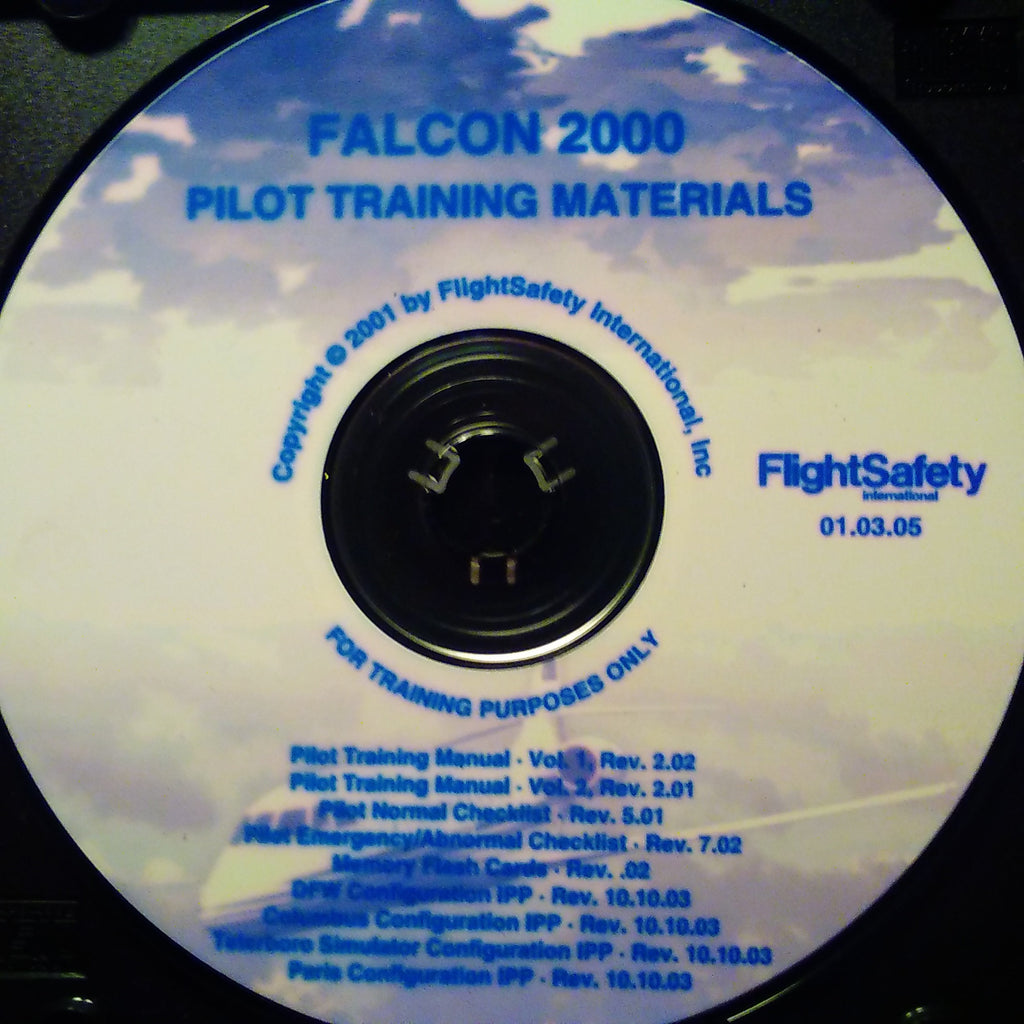 FlightSafety Falcon 2000 Pilot Training Manuals on CD.  Circa 2005.