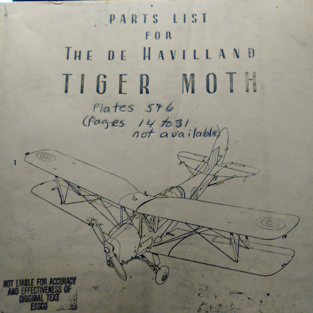De Havilland Tiger Moth Parts Manual.  Circa 1931-1944.