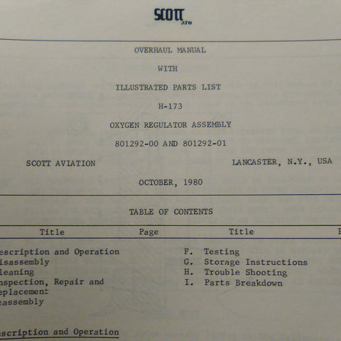 Scott Oxygen Regulator 801292-00 & 801292-01 Overhaul & Parts Manual.  Circa 1980.