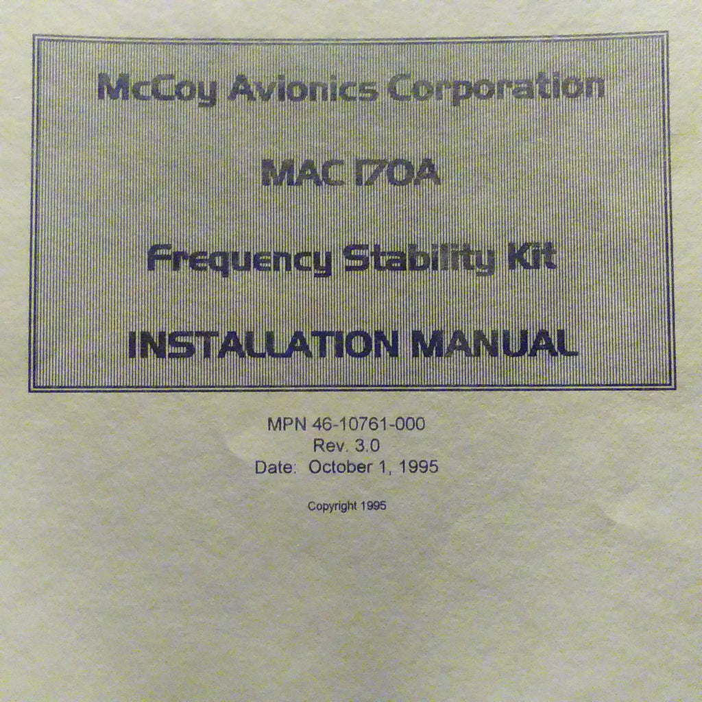 MAC McCoy MAC 170A Frequency Stability Kit  Install Manual. Circa 1995.