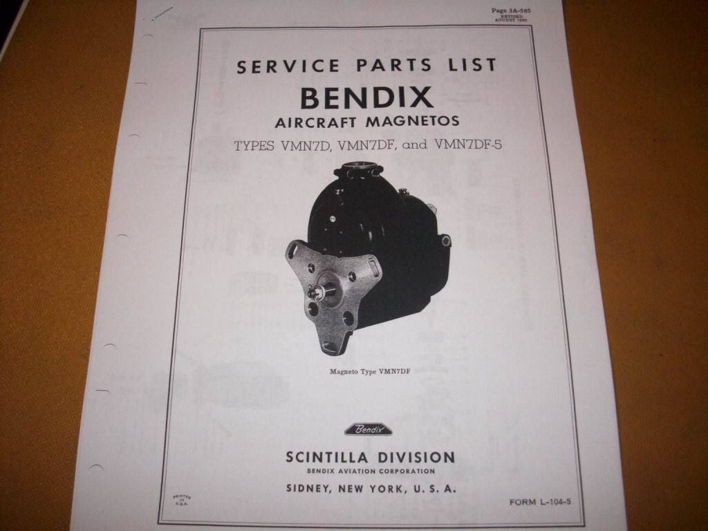 Bendix-Scintilla Magnetos VMN7D, VMN7DF & VMN7DF-5 Parts Booklet