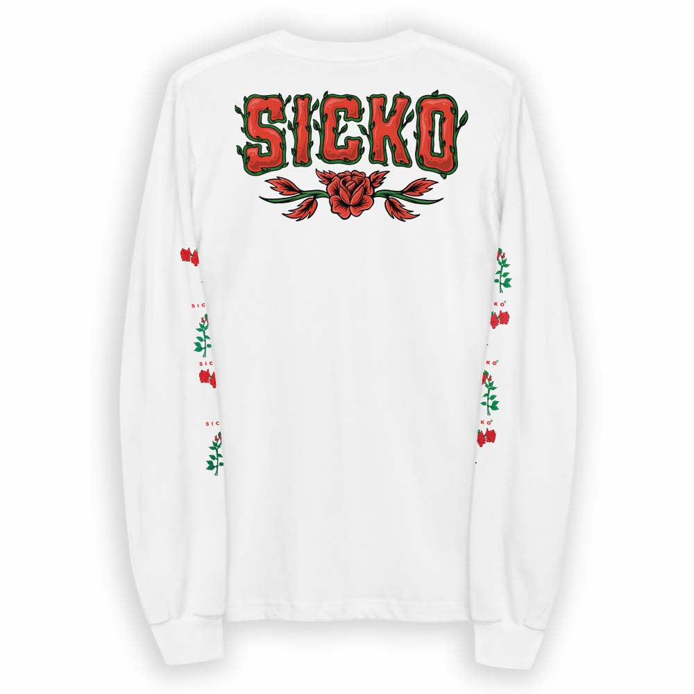 White SICKO Rose Long Sleeve T-Shirt