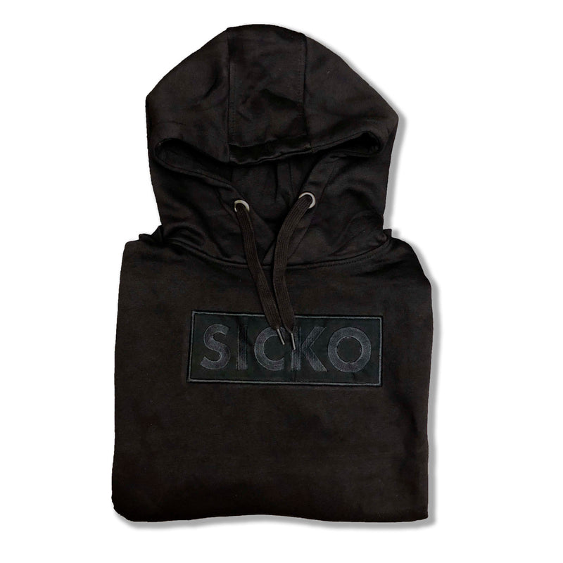 SICKO Embroidered Black Box Logo Hoodie - SiCKO Clothing