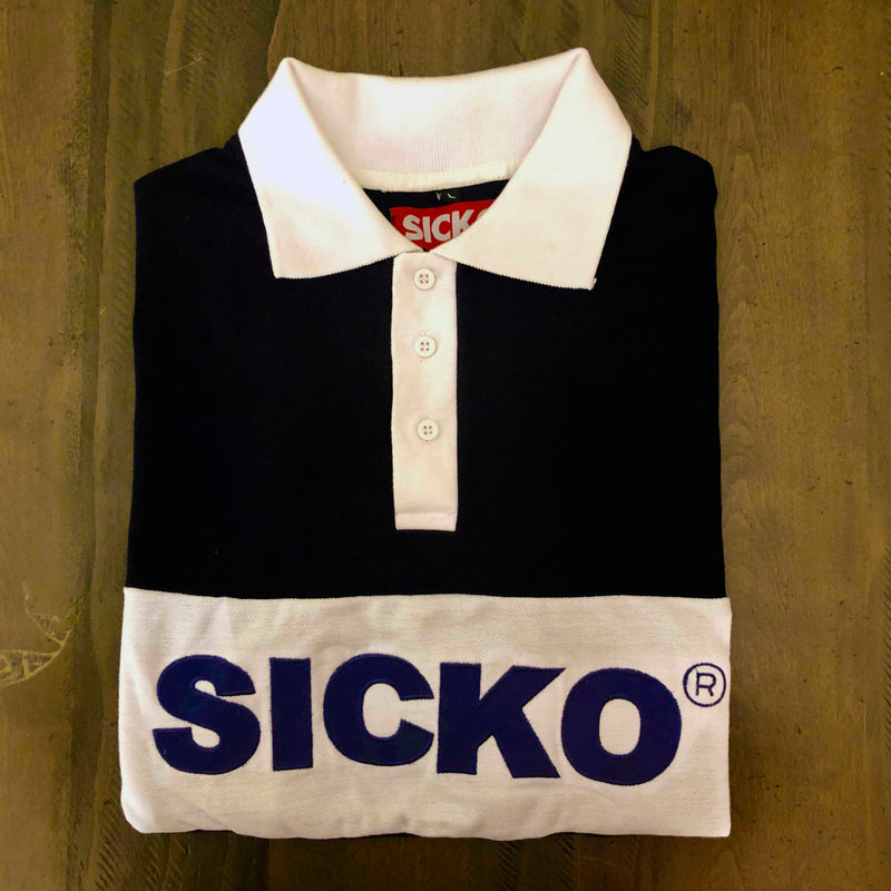 SICKO® Polo with large Embroidered logo in Navy - SiCKO Clothing
