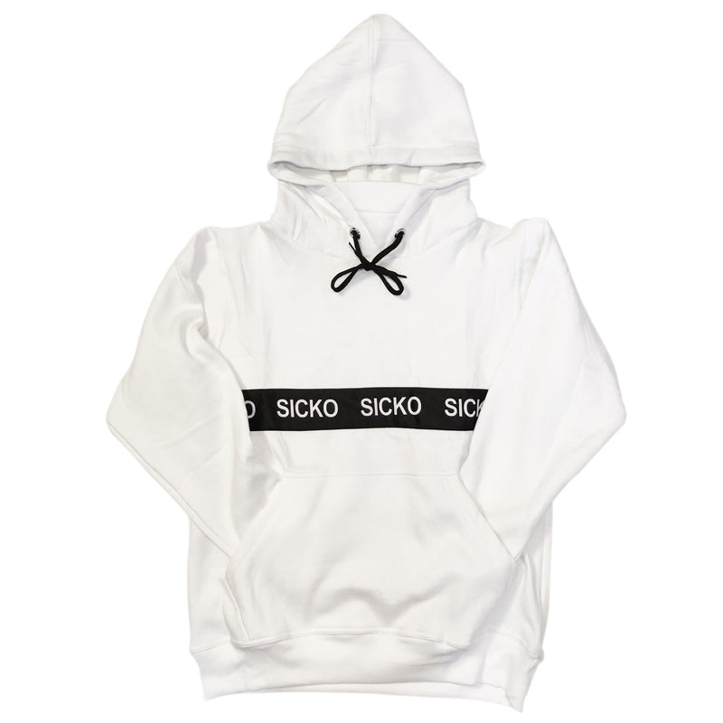 SICKO®️ Ribbed Band White Hoodie - SiCKO Clothing