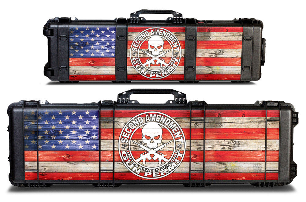 Pelican Gun Case Wrap Decal Kit by USATuff - 2nd Amendment Flag Color