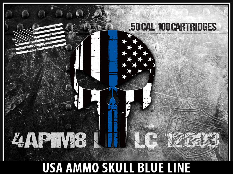 USATuff Yeti Cup Rtic Cup USA Ammo Skull Blue Line Decal Skin Wrap