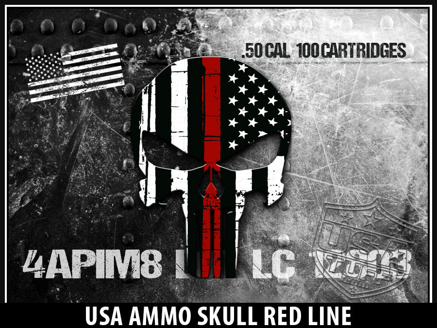 USATuff Yeti Cup Rtic Cup USA Ammo Skull Red Line Decal Skin Wrap