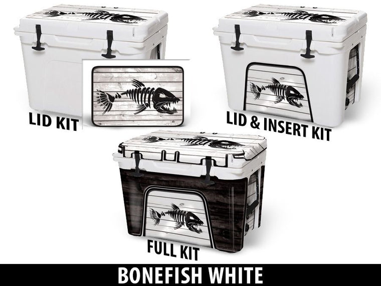 USATuff Cooler Accessories Ice Chest Graphic Sticker Decal Kits - Bonefish White