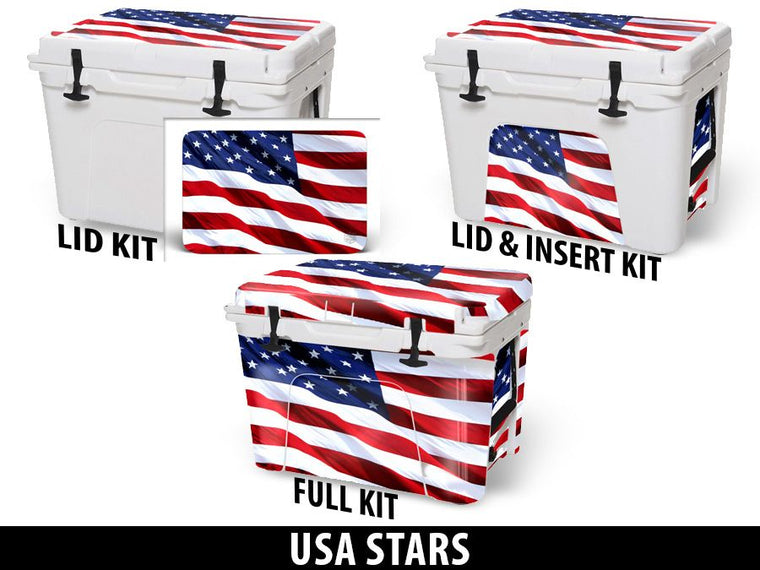 USATuff Cooler Accessories Ice Chest Graphic Sticker Decal Kits - USA Stars