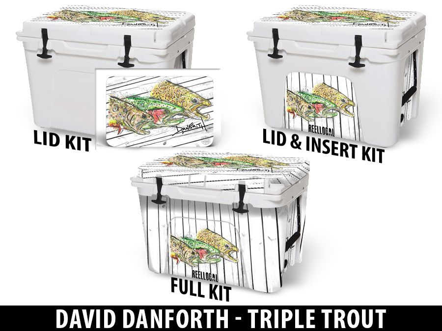 USATuff Cooler Accessories Ice Chest Graphic Sticker Decal Kits - Triple Trout by David Danforth