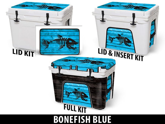 USATuff Cooler Accessories Ice Chest Graphic Sticker Decal Kits - Bonefish Blue