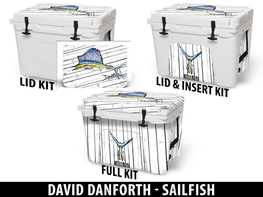 USATuff Cooler Accessories Ice Chest Graphic Sticker Decal Kits - Sailfish by David Danforth