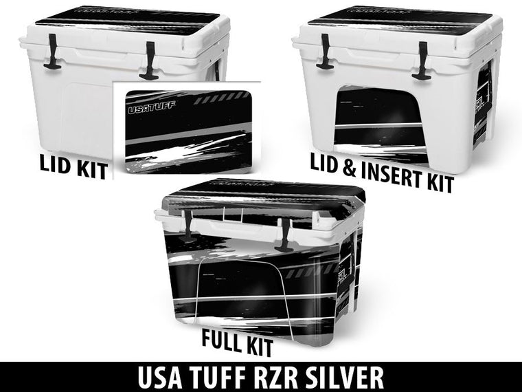 USATuff Cooler Accessories Ice Chest Graphic Sticker Decal Kits - RZR Silver Design