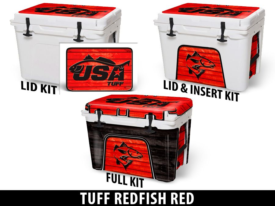 USATuff Cooler Accessories Ice Chest Graphic Sticker Decal Kits - Redfish Red
