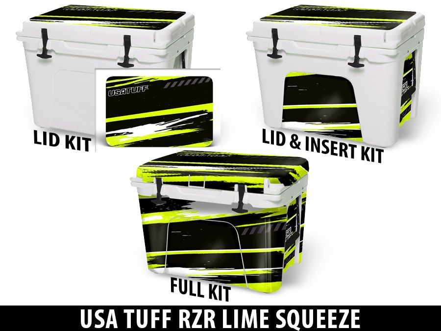 USATuff Cooler Accessories Ice Chest Graphic Sticker Decal Kits - RZR Lime Squeeze Design