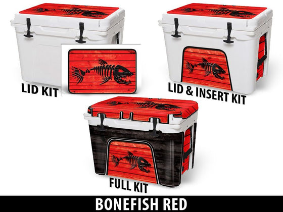 USATuff Cooler Accessories Ice Chest Graphic Sticker Decal Kits - Bonefish Red