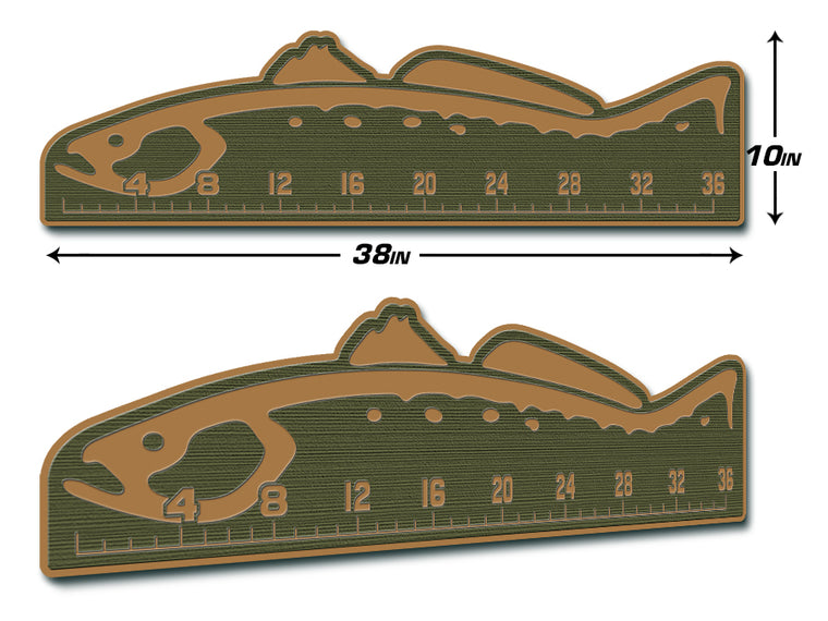"Fish Ruler 36"" TROUT Olive Green/Mocha"