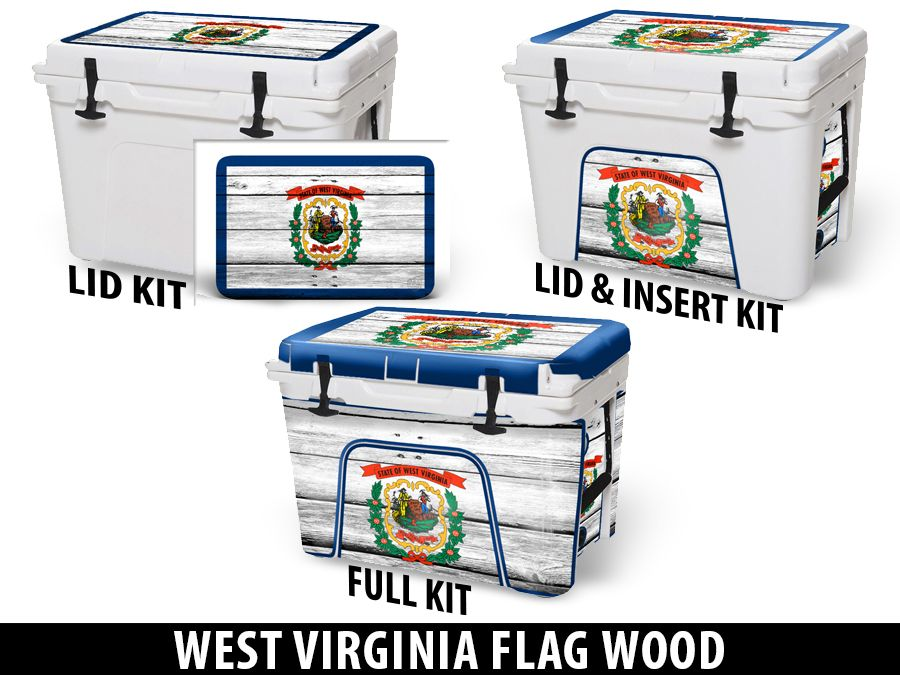 USATuff Cooler Accessories Ice Chest Graphic Sticker Decal Kits - West Virginia