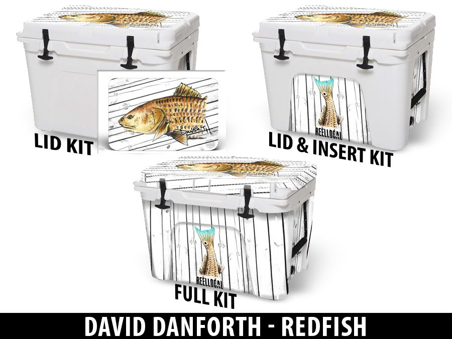 USATuff Cooler Accessories Ice Chest Graphic Sticker Decal Kits - Redfish by David Danforth