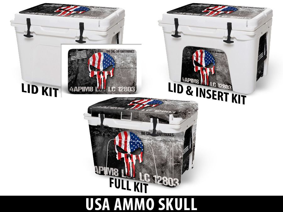 USATuff Cooler Accessories Ice Chest Graphic Sticker Decal Kits - USA Ammo Skull