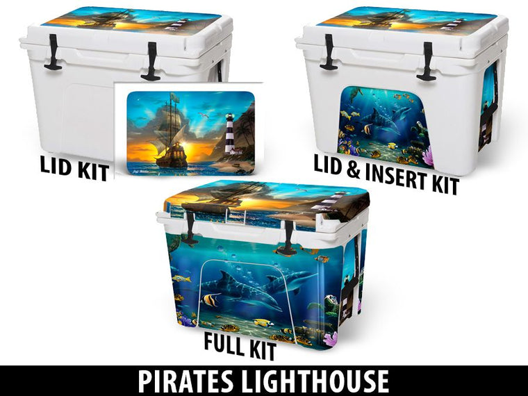 USATuff Cooler Accessories Ice Chest Graphic Sticker Decal Kits - Pirates Lighthouse by Jeff Wilkie
