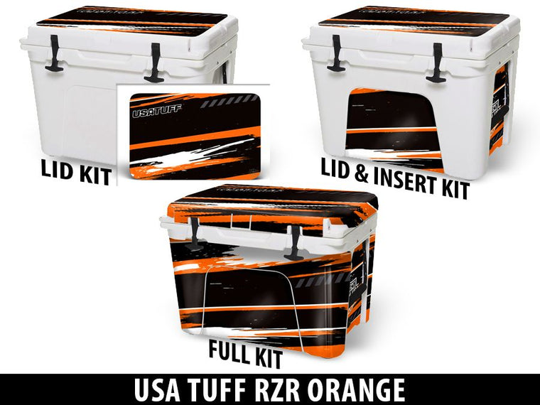 USATuff Cooler Accessories Ice Chest Graphic Sticker Decal Kits - RZR Orange Design