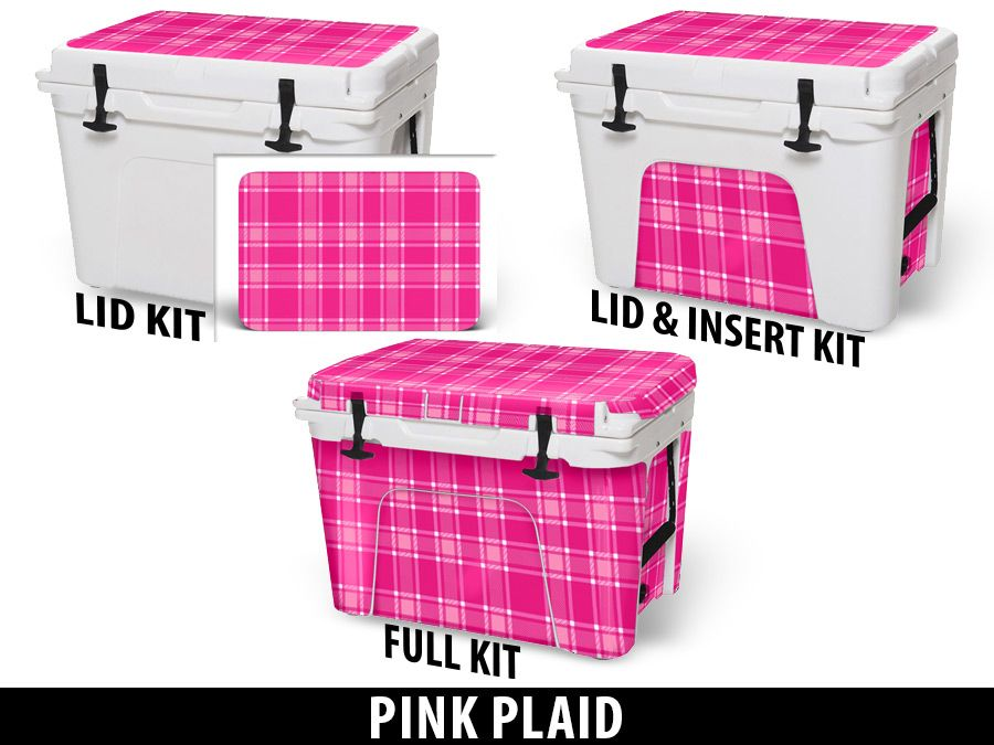 USATuff Cooler Accessories Ice Chest Graphic Sticker Decal Kits - Pink Plaid