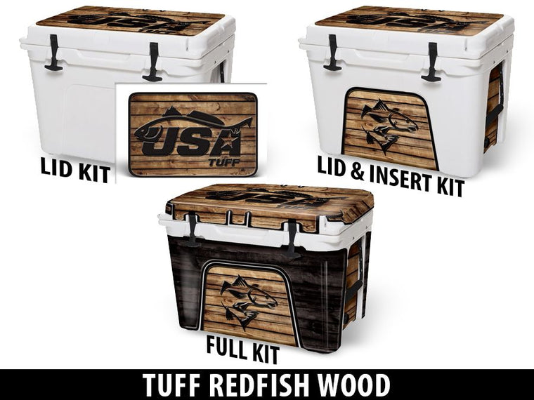 USATuff Cooler Accessories Ice Chest Graphic Sticker Decal Kits - Redfish Wood