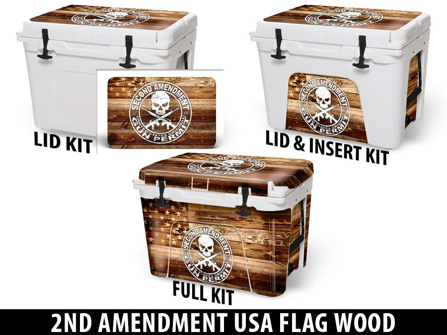 USATuff Cooler Accessories Ice Chest Graphic Sticker Decal Kits - 2nd Amendment USA Flag Wood